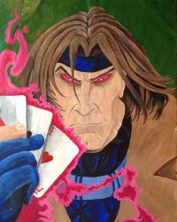 A old 90's painting of Gambit by T-Denton