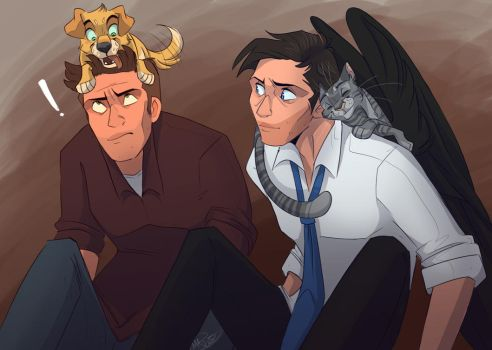 Catstiel and Dog Dean Commission by MissArtsyy