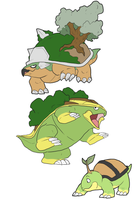 Gen 4 grass starters by CasFlores