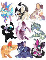 Cute Button Chibis- For Sale by Feniick