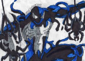 Symbiote Spidey with Spiders by ChahlesXavier