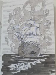 Inktober 2017 - 25 Ship by MecaniqueFairy
