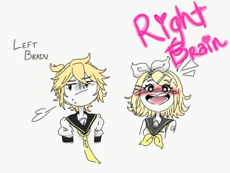 Left Brain and Right Brain - Rin and Len by Rin-the-orangemaster