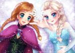 Sisters and Snowflakes by hello-mango