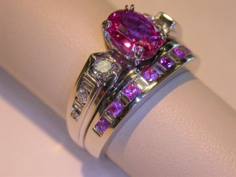Pink Sapphire Wedding set by amberdreams