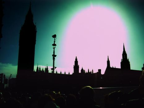 Big Ben, the sky's gone green by music4ever13