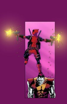Deadpool and Colossus by tdjulian