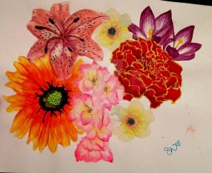 Mix Media Flower by savvyartwork