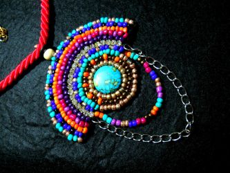 Colorful beaded necklace by AniDandelion