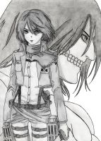 Attack on Titan: Mikasa and Eren by CaptainGhostly