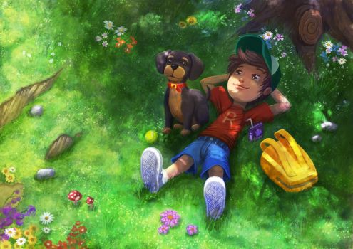 Boy and his dog by raven1303