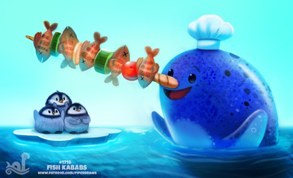 Daily Painting 1718# Fish Kebabs by Cryptid-Creations