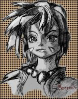 Chrono Cross: Meeting Kid Sketch (pixlr'd) by Roxyielle
