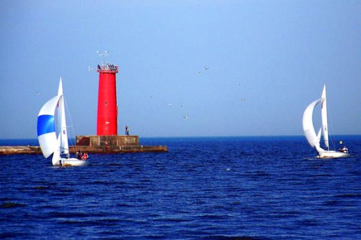 Sailboats and Lighthouse by mcstuff