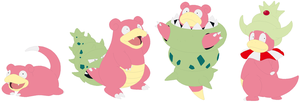 Slowpoke, Slowbro, Mega Slowbro and Slowking Base by SelenaEde