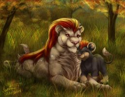 Pyroar and Litleo by Irete
