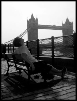 Tower Bridge with sleeping boy by Satyrion