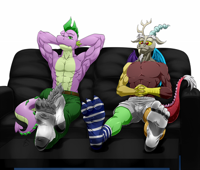 Spike and Discord Kicking Back - by Pia-Sama by RustySteele