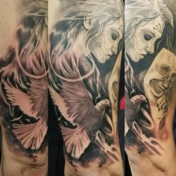 Lady mask dove tattoo by tuomaskoivurinne