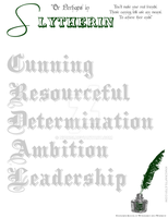 Qualities of Slytherin Stationery by Niongi