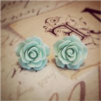 Mint Rose Blossom Earrings by MegamiMoon