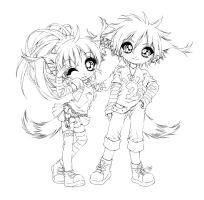 anna and bronek... lineart by sureya