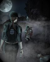 Jill and Zombies at Night by Ess-Kombat