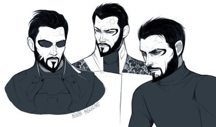 Adam Jensen sketches by Moon-In-Milk