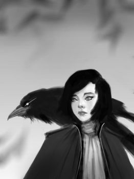 crow girl sketch by Gwinson