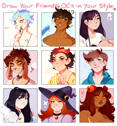 Draw your pals' ocs in your style meme by Viccatty