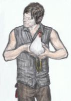 Daryl Dixon holding a chicken by gagambo