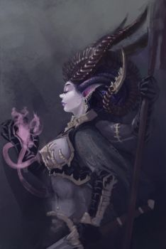 Slaanesh Keeper of Secrets sketch by QuizzicalKisses