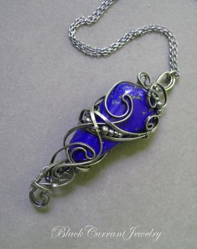 Lapis lasuli and dark sterling silver pendant by blackcurrantjewelry