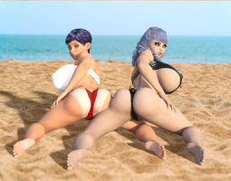 Girls on the beach ! by adn700