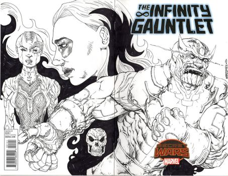 INFINITY GAUNTLET sketch cover by drawhard