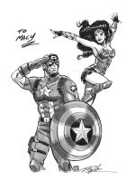 Captain America and Wonder Woman Commission by timshinn73