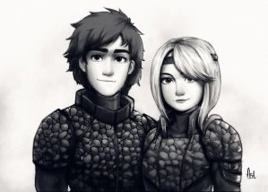 Hiccup and Astrid (How To Train Your Dragon 3) by asadfarook