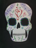 musical sugar skull by TaitGallery