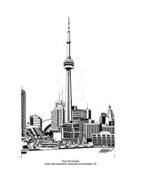 The CN Tower - One Line Drawing by SlotsArtStudio