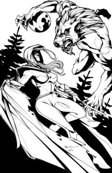 Moon Knight vs. Werewolf inks - AVAILABLE TO COLOR by seggleston