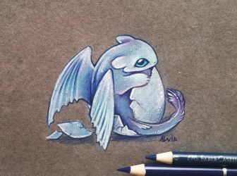 Light fury hatchling by AlviaAlcedo