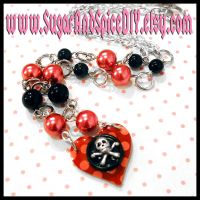 Polka Dots and Skulls Necklace by wickedland