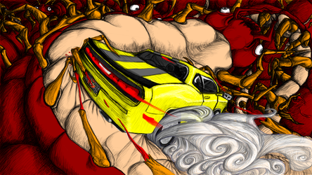 Dodge Challenger Drifting on a Giant Centipede by pidgeonwalker