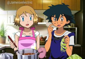 Ash and Serena Cooking.  by Jamesvelectric