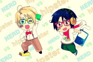Nerd V.S. Hipster - USA and MEXICO HETALIA by Iyari-Yolotzin