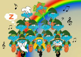 St. Patrick's Day Smurfs by acla13