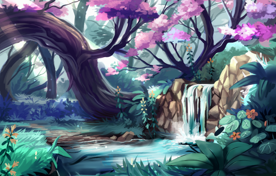 cherry tree pond by Pand-ASS