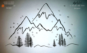 Inktober - 12 - Snowy Mountains by MatAndre