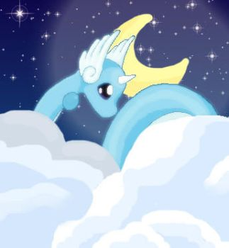 Dragonair in the Clouds V.2 by moonwaveumbreon