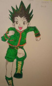 Hunter x hunter Gon-colored w/ highlighters by Rainbowpertyhat